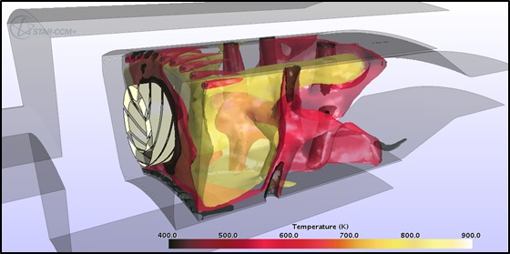Iso-surfaces of Temperature in a Combustion Chamber