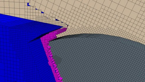 An aircraft wing flap deflection – the dynamic intersection of the two bodies is achieved by Overset Mesh gap handling